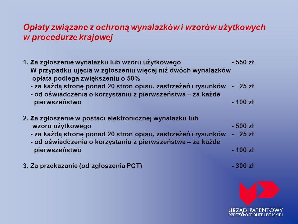 Opłaty związane z ochroną wynalazków i wzorów użytkowych w procedurze krajowej 1.