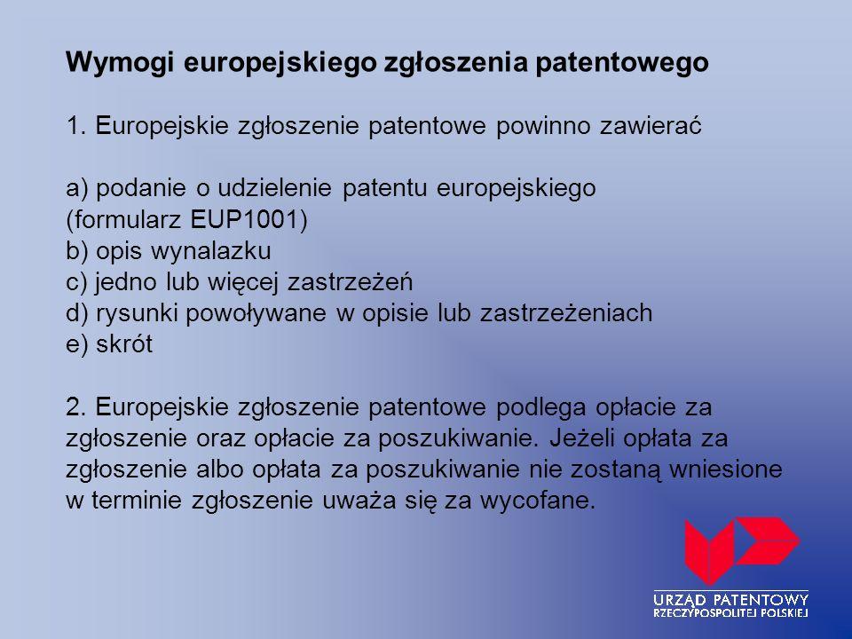Wymogi europejskiego zgłoszenia patentowego 1