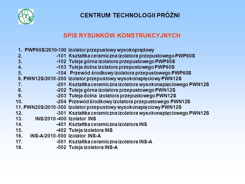 CENTRUM TECHNOLOGII PRÓŻNI SPIS RYSUNKÓW KONSTRUKCYJNYCH