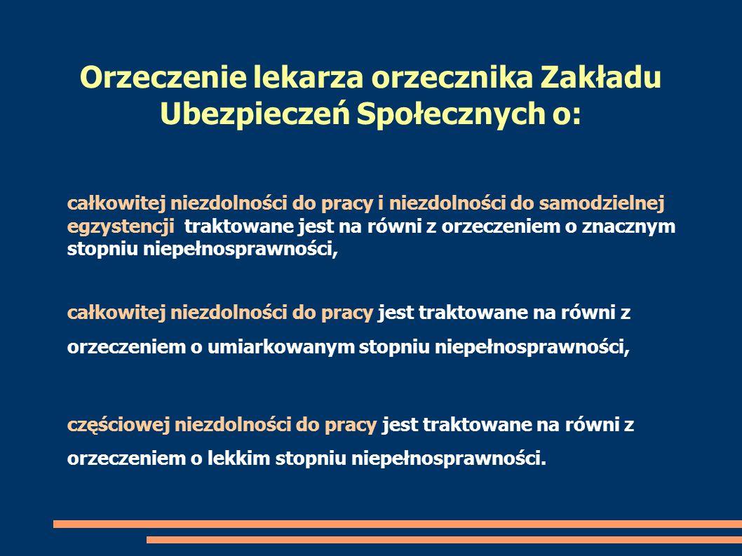Orzeczenie lekarza orzecznika Zakładu Ubezpieczeń Społecznych o:
