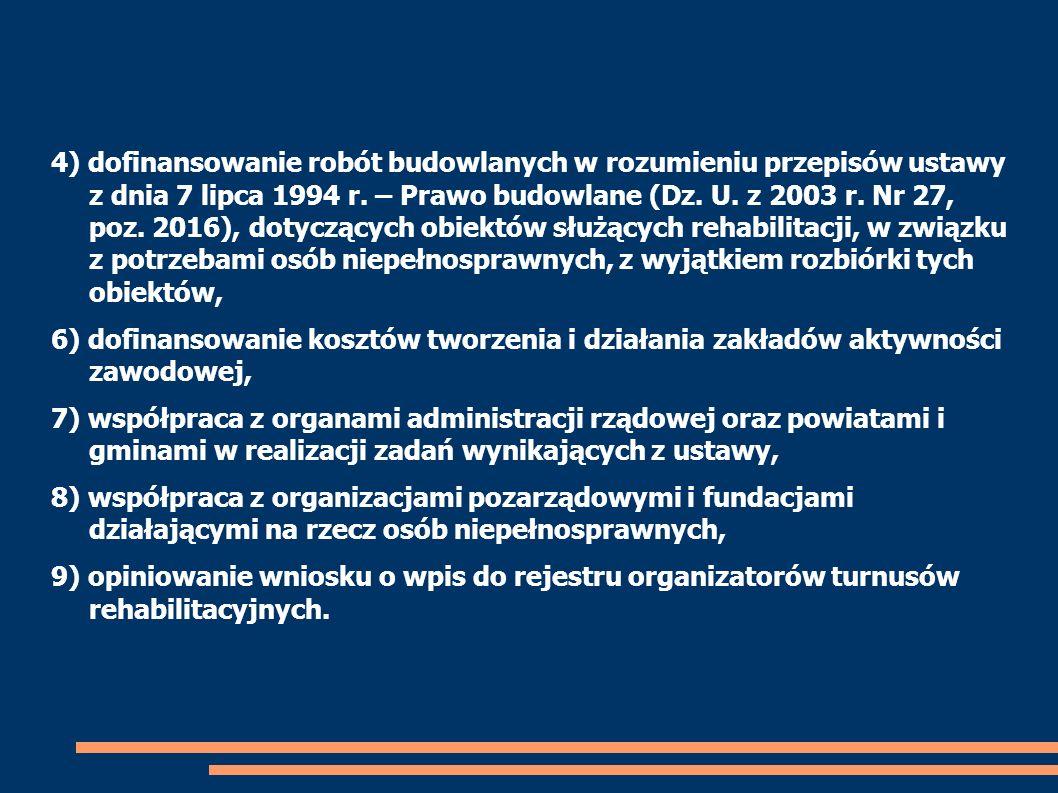4) dofinansowanie robót budowlanych w rozumieniu przepisów ustawy z dnia 7 lipca 1994 r. – Prawo budowlane (Dz. U. z 2003 r. Nr 27, poz. 2016), dotyczących obiektów służących rehabilitacji, w związku z potrzebami osób niepełnosprawnych, z wyjątkiem rozbiórki tych obiektów,