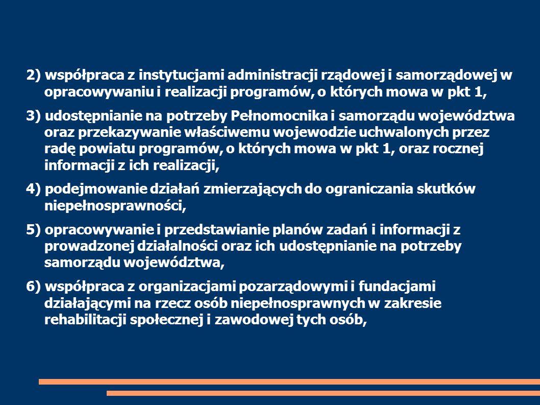 2) współpraca z instytucjami administracji rządowej i samorządowej w opracowywaniu i realizacji programów, o których mowa w pkt 1,