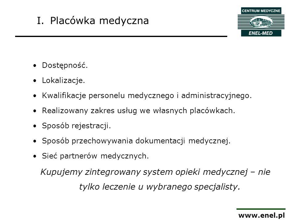 I. Placówka medyczna Dostępność. Lokalizacje. Kwalifikacje personelu medycznego i administracyjnego.