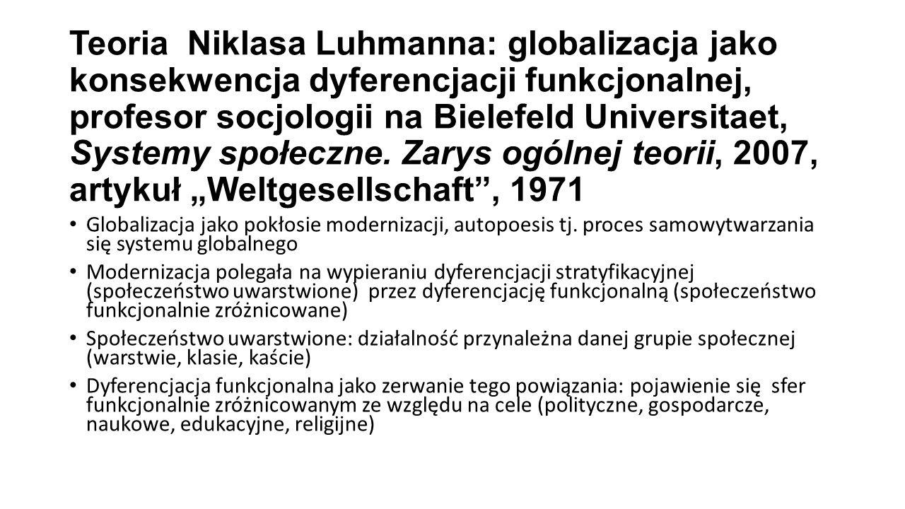 """Teoria Niklasa Luhmanna: globalizacja jako konsekwencja dyferencjacji funkcjonalnej, profesor socjologii na Bielefeld Universitaet, Systemy społeczne. Zarys ogólnej teorii, 2007, artykuł """"Weltgesellschaft , 1971"""