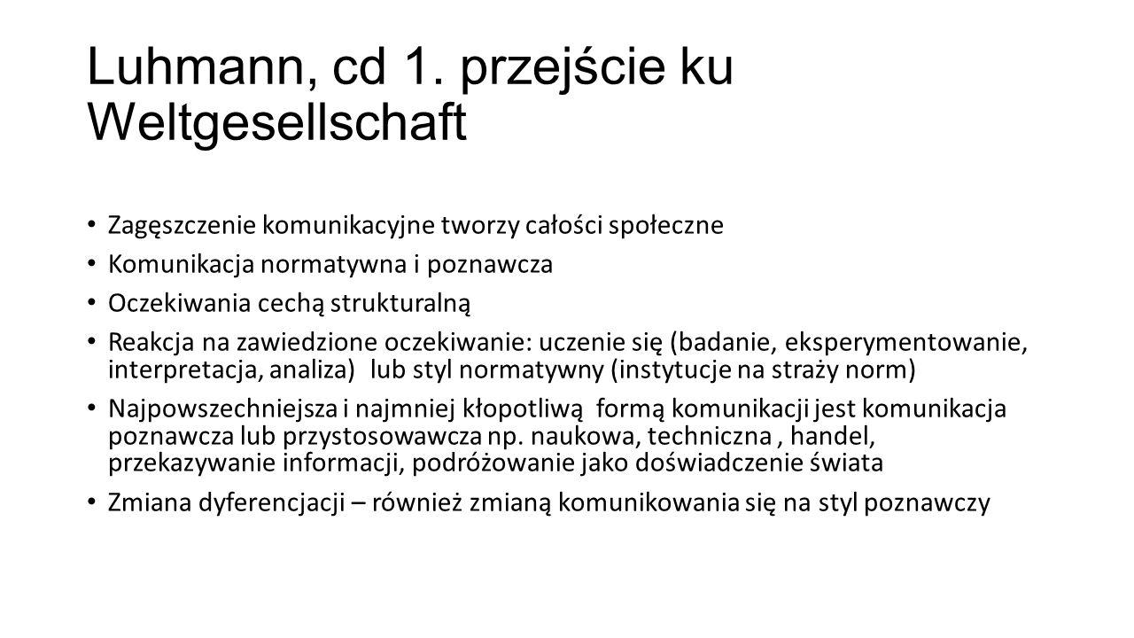 Luhmann, cd 1. przejście ku Weltgesellschaft