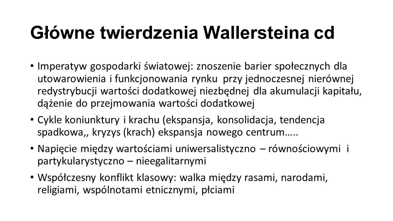 Główne twierdzenia Wallersteina cd