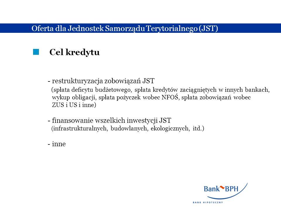 Cel kredytu Oferta dla Jednostek Samorządu Terytorialnego (JST)