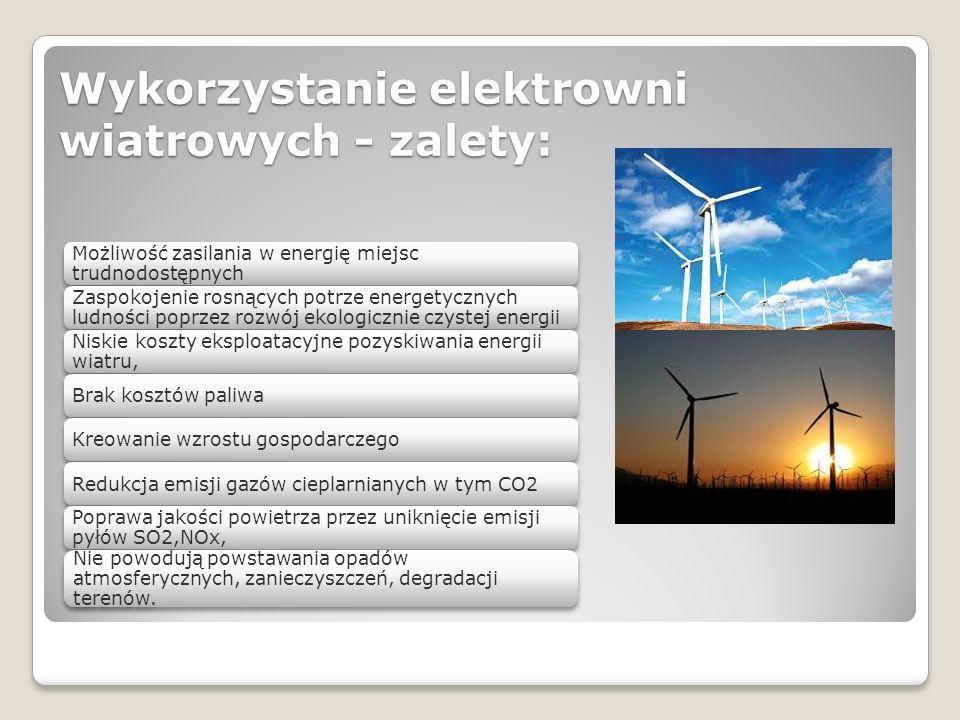 Wykorzystanie elektrowni wiatrowych - zalety: