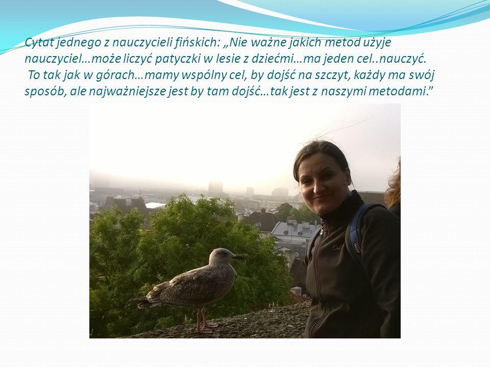 """Cytat jednego z nauczycieli fińskich: """"Nie ważne jakich metod użyje nauczyciel…może liczyć patyczki w lesie z dziećmi…ma jeden cel..nauczyć."""