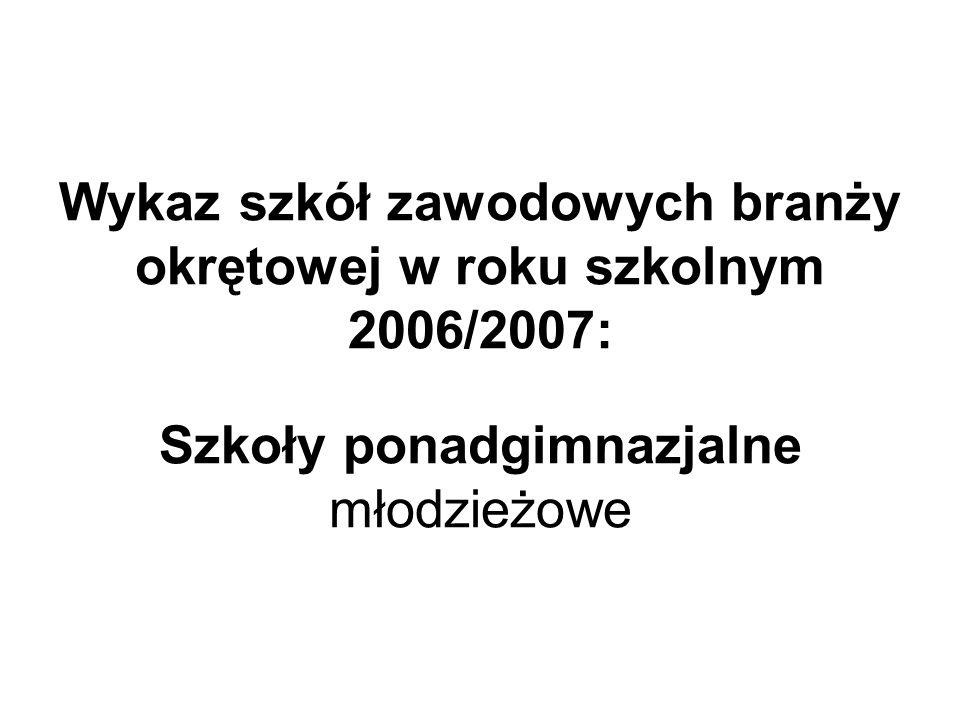 Wykaz szkół zawodowych branży okrętowej w roku szkolnym 2006/2007: