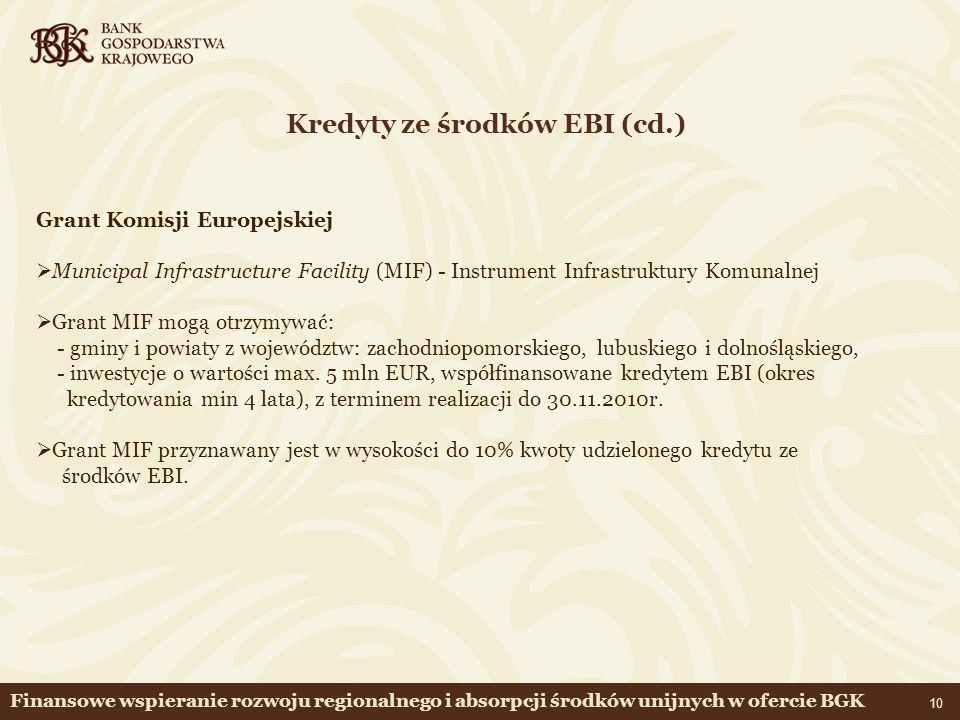 Kredyty ze środków EBI (cd.)