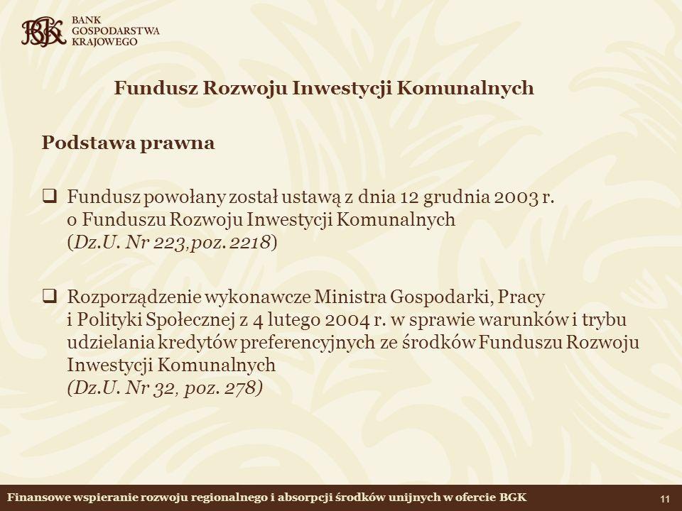Fundusz Rozwoju Inwestycji Komunalnych Podstawa prawna