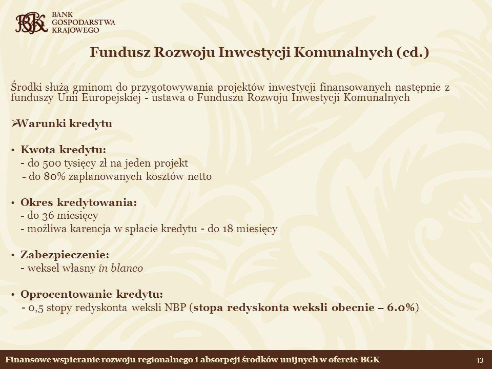 Fundusz Rozwoju Inwestycji Komunalnych (cd.)