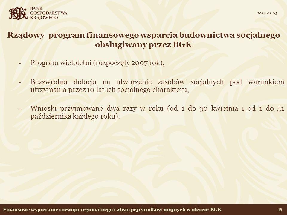 2017-03-24 Rządowy program finansowego wsparcia budownictwa socjalnego obsługiwany przez BGK. Program wieloletni (rozpoczęty 2007 rok),