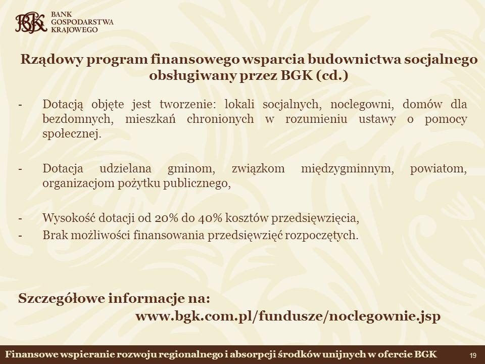Szczegółowe informacje na: www.bgk.com.pl/fundusze/noclegownie.jsp