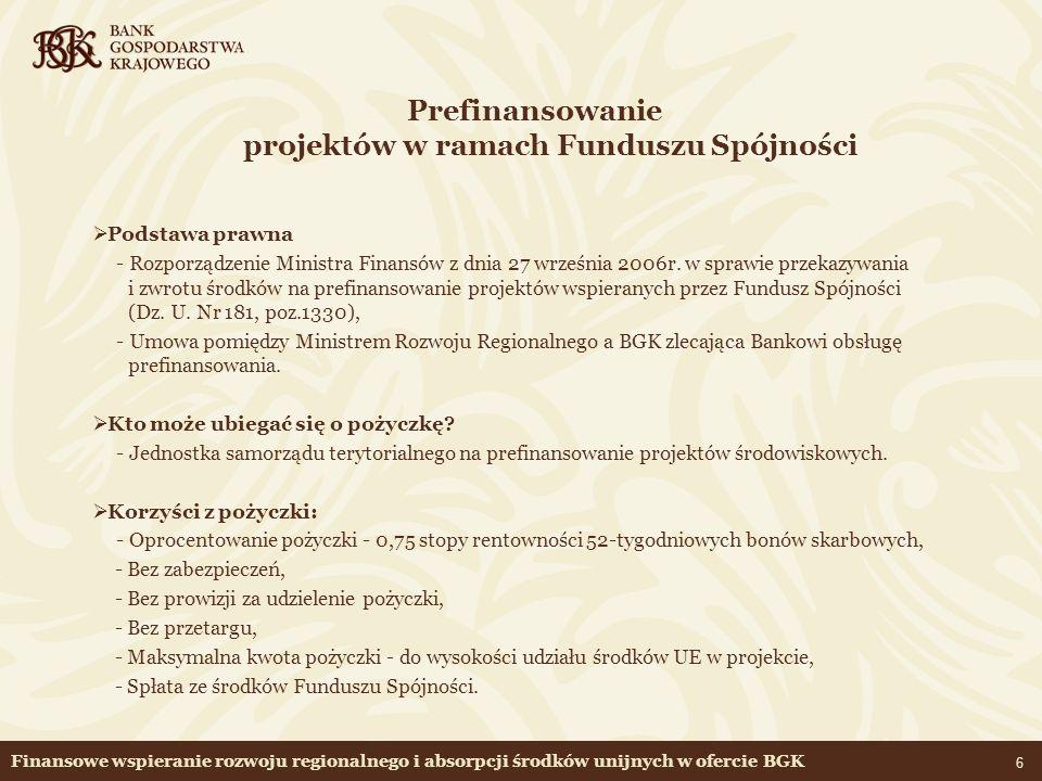 Prefinansowanie projektów w ramach Funduszu Spójności