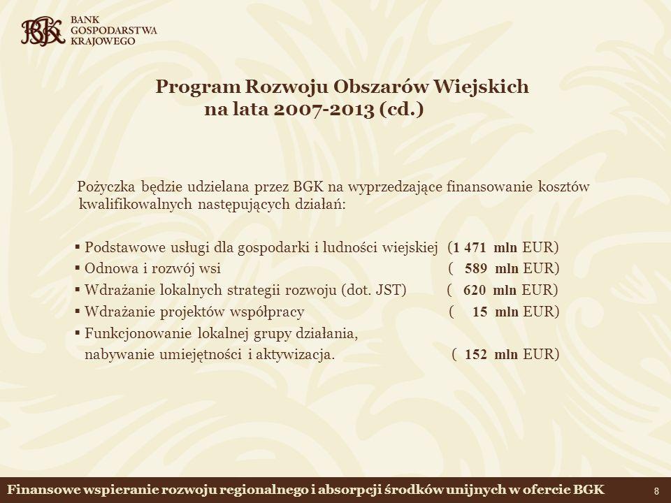 Program Rozwoju Obszarów Wiejskich na lata 2007-2013 (cd.)