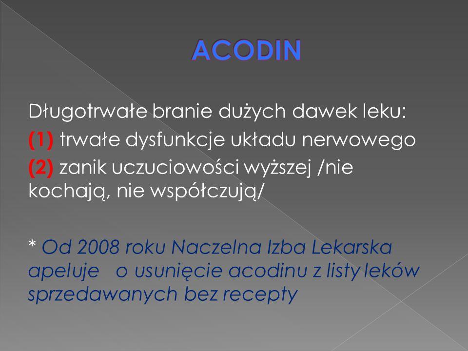 ACODIN Długotrwałe branie dużych dawek leku: