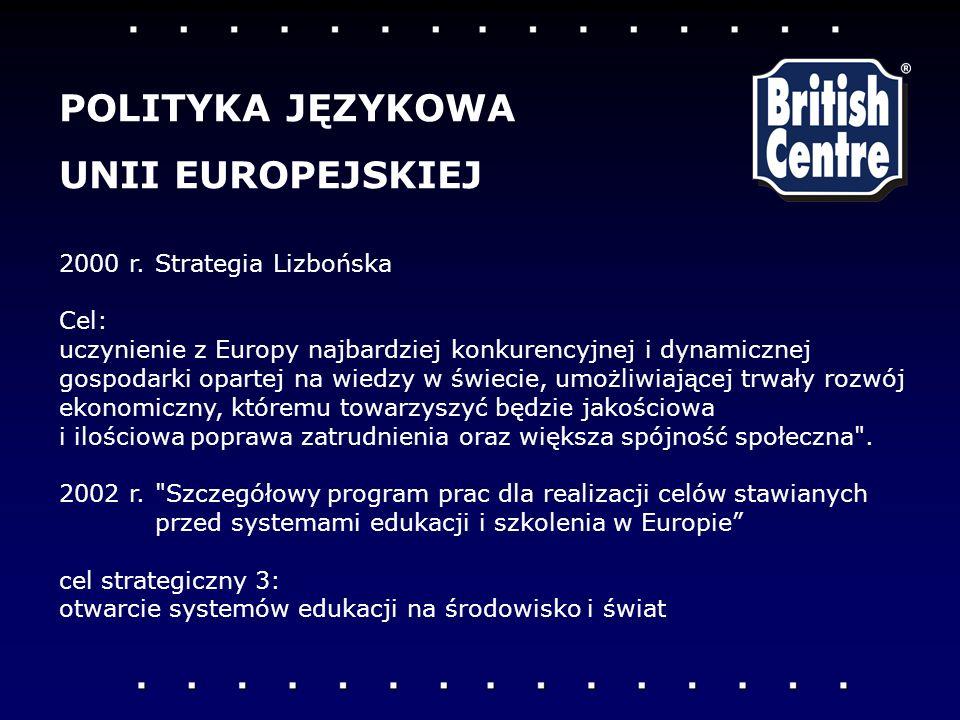 POLITYKA JĘZYKOWA UNII EUROPEJSKIEJ 2000 r. Strategia Lizbońska Cel: