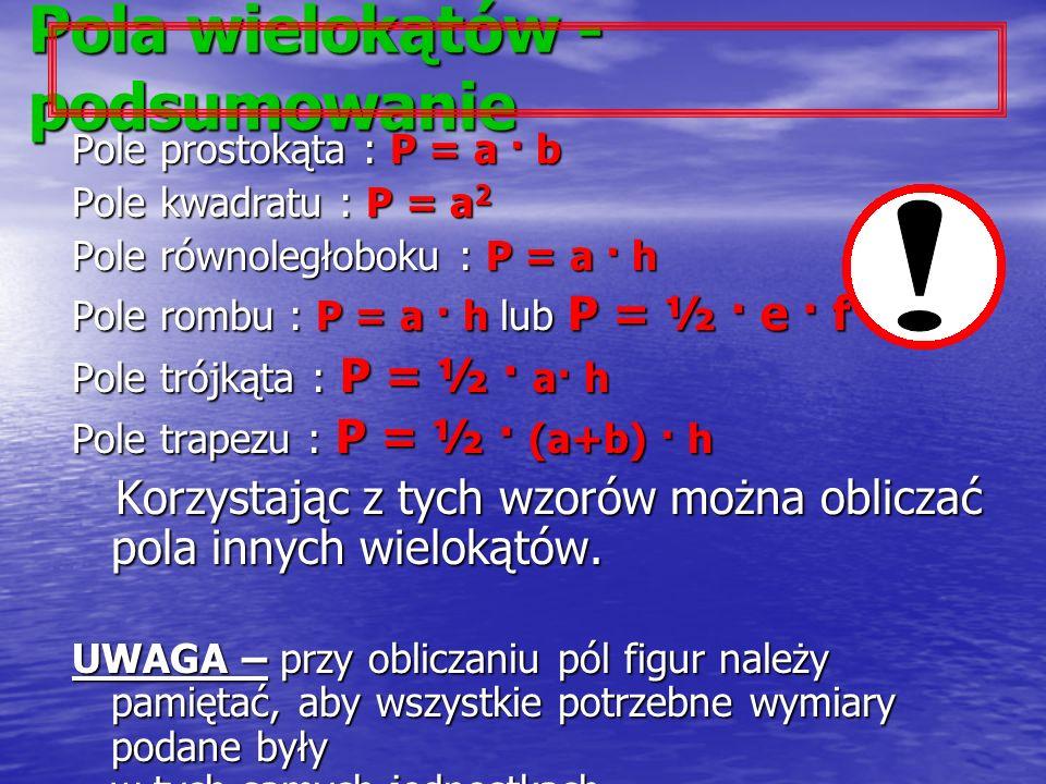Pola wielokątów - podsumowanie