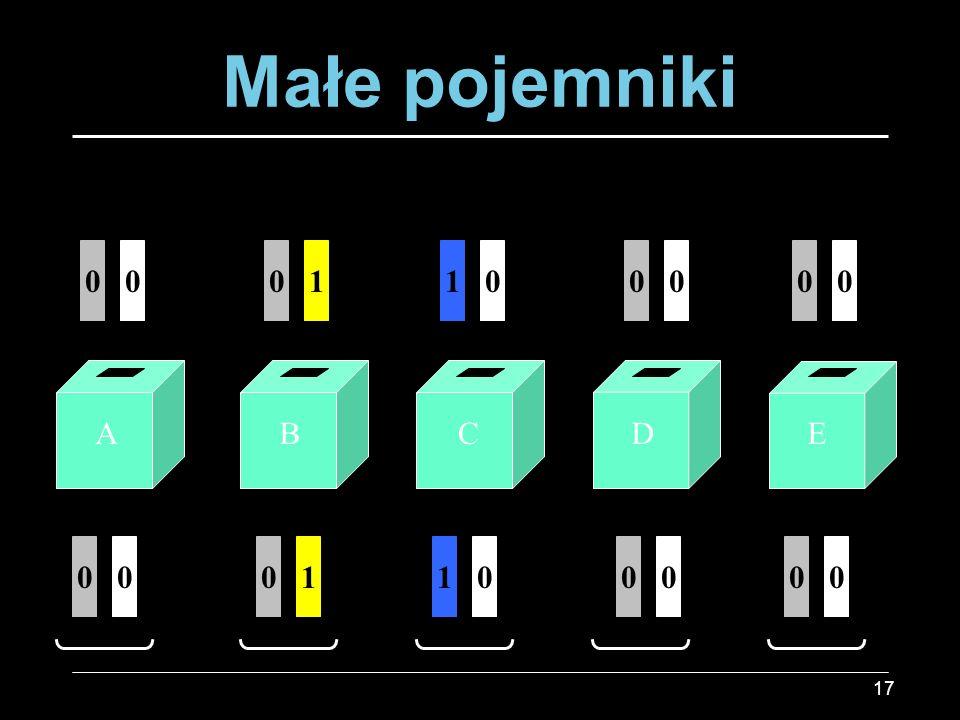 Małe pojemniki 1 1 A B C D E 1 1