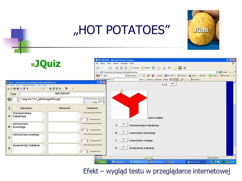 """""""HOT POTATOES JQuiz Efekt – wygląd testu w przeglądarce internetowej"""