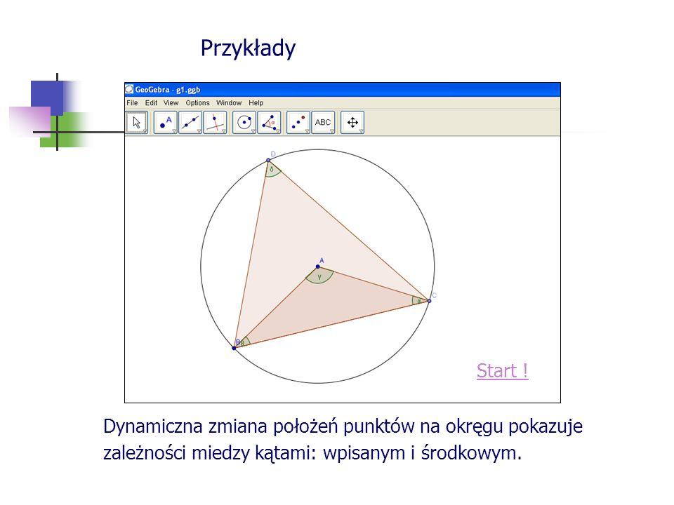 Przykłady Start ! Dynamiczna zmiana położeń punktów na okręgu pokazuje