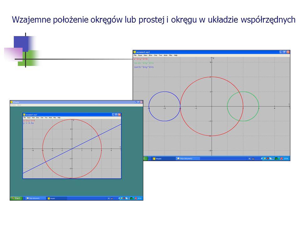 Wzajemne położenie okręgów lub prostej i okręgu w układzie współrzędnych