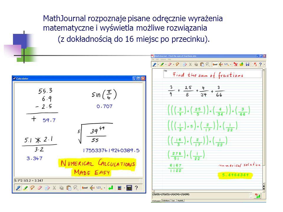 MathJournal rozpoznaje pisane odręcznie wyrażenia matematyczne i wyświetla możliwe rozwiązania