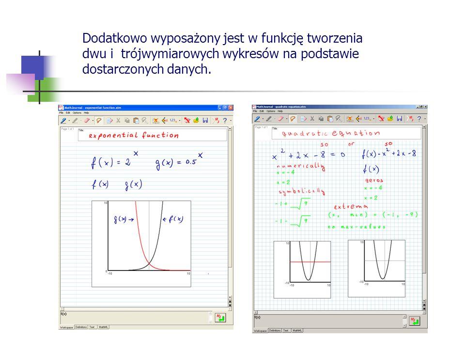 Dodatkowo wyposażony jest w funkcję tworzenia dwu i trójwymiarowych wykresów na podstawie dostarczonych danych.