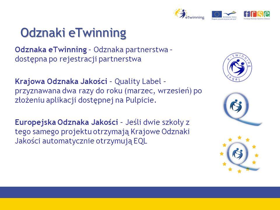 Odznaki eTwinningOdznaka eTwinning – Odznaka partnerstwa – dostępna po rejestracji partnerstwa.