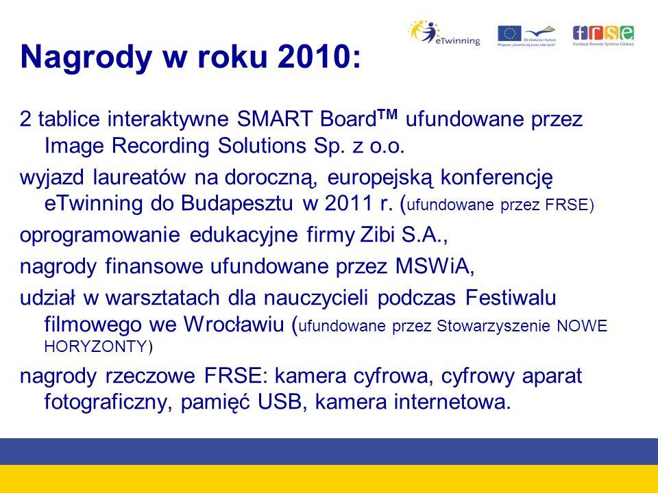 Nagrody w roku 2010:2 tablice interaktywne SMART BoardTM ufundowane przez Image Recording Solutions Sp. z o.o.