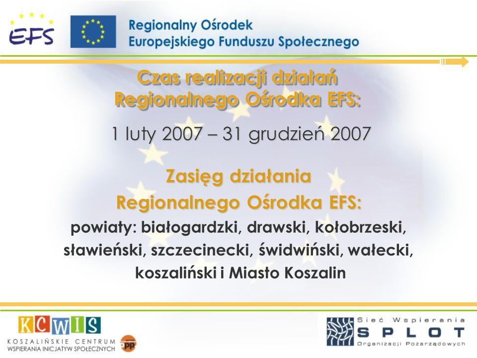 Czas realizacji działań Regionalnego Ośrodka EFS: