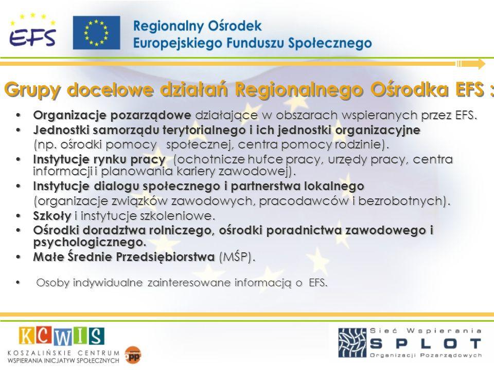 Grupy docelowe działań Regionalnego Ośrodka EFS :