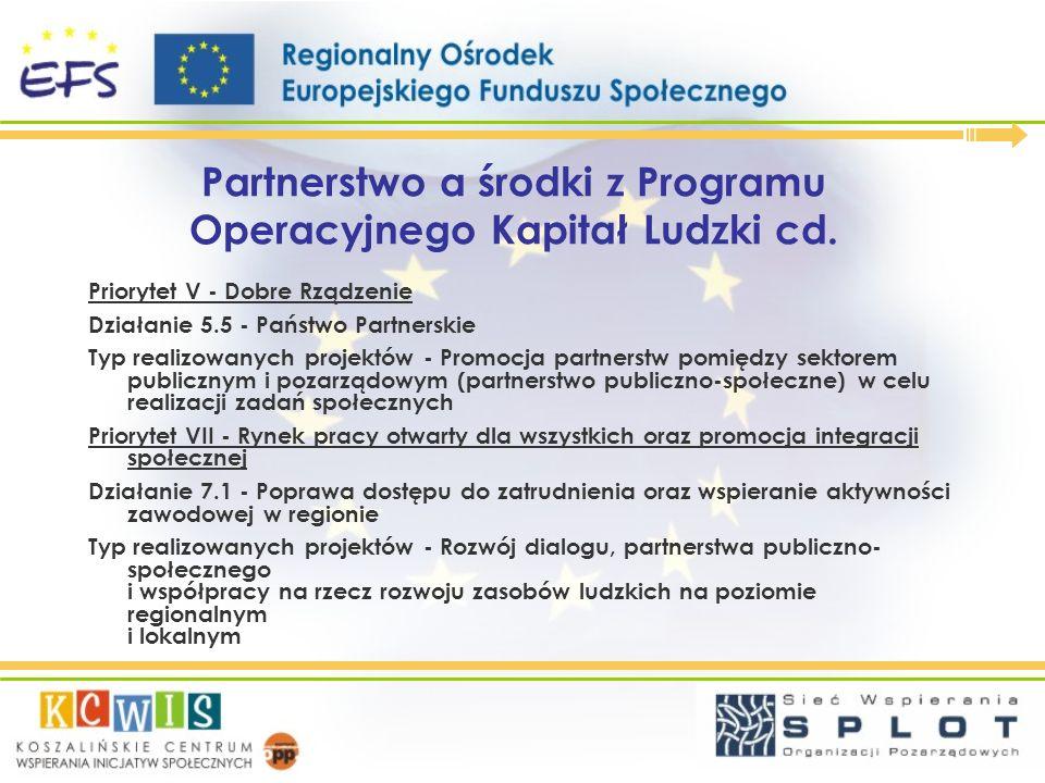 Partnerstwo a środki z Programu Operacyjnego Kapitał Ludzki cd.