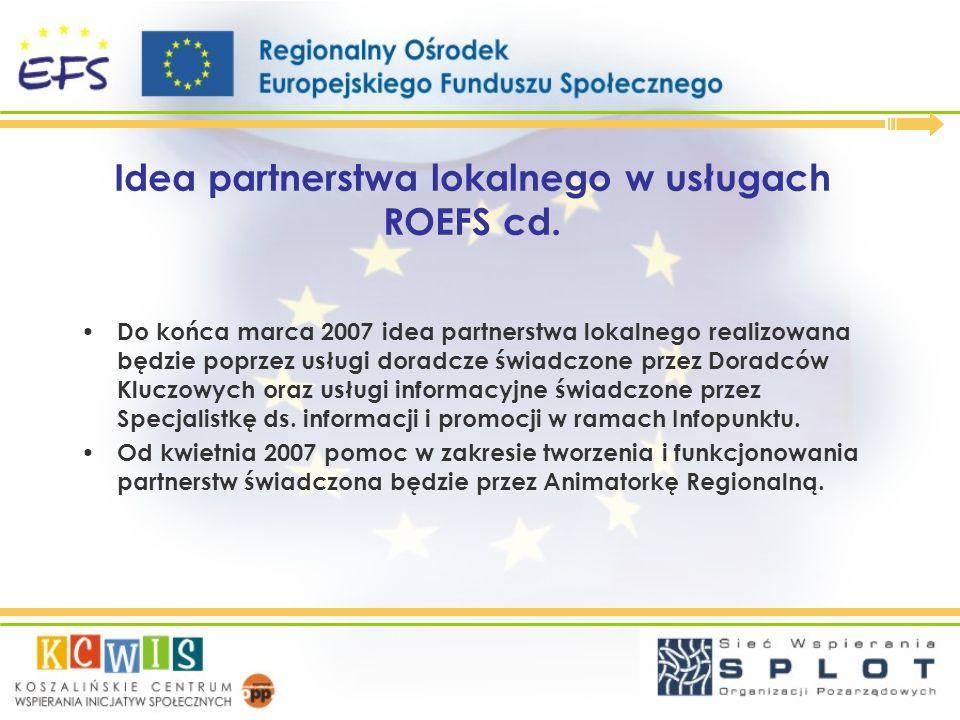 Idea partnerstwa lokalnego w usługach ROEFS cd.