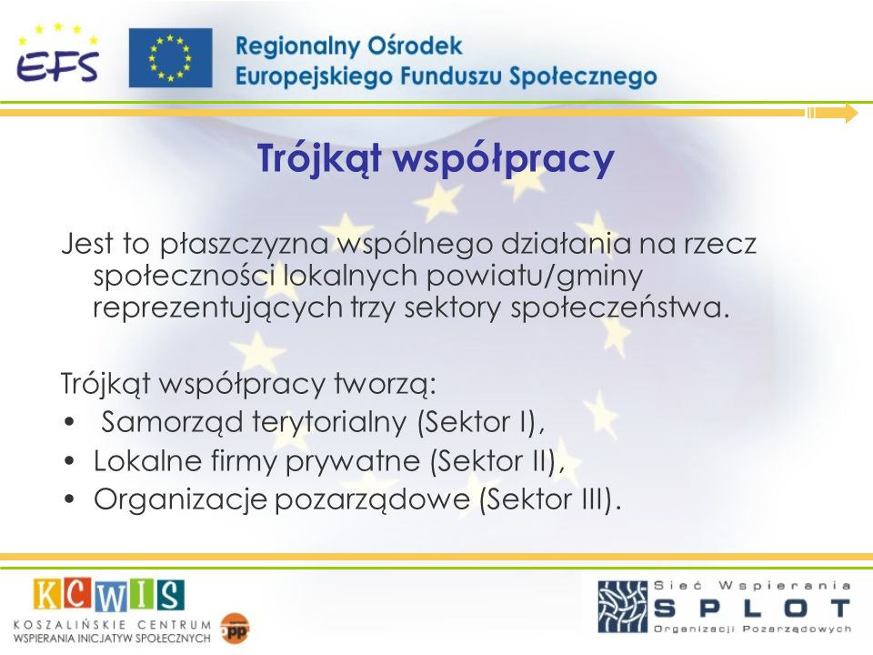 Trójkąt współpracy Jest to płaszczyzna wspólnego działania na rzecz społeczności lokalnych powiatu/gminy reprezentujących trzy sektory społeczeństwa.