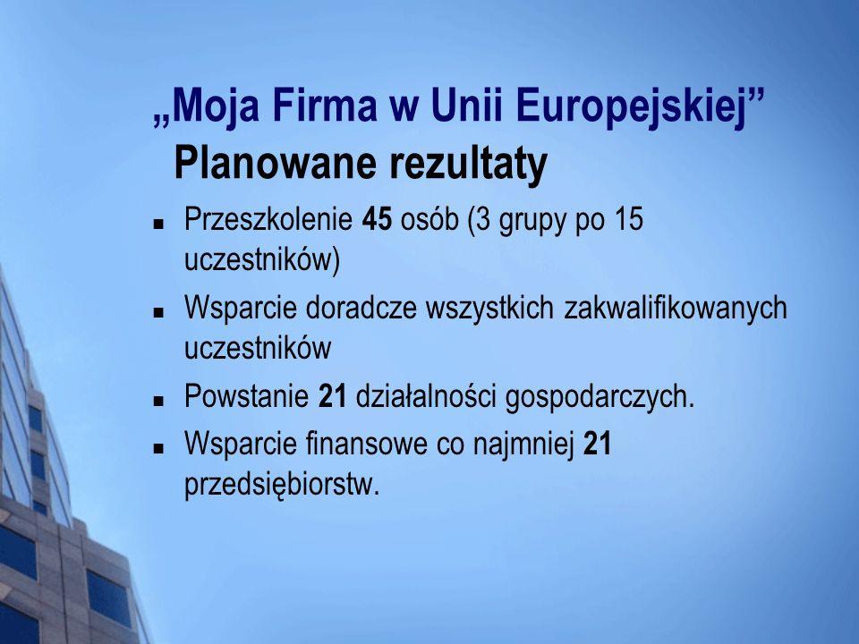 """""""Moja Firma w Unii Europejskiej Planowane rezultaty"""