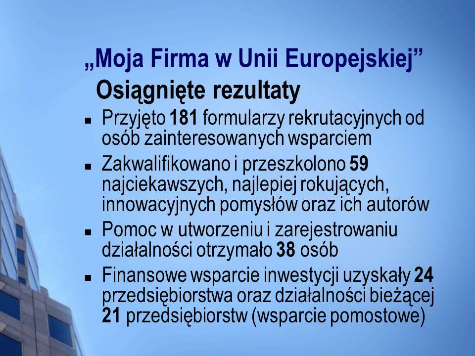 """""""Moja Firma w Unii Europejskiej Osiągnięte rezultaty"""