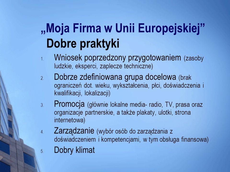 """""""Moja Firma w Unii Europejskiej Dobre praktyki"""