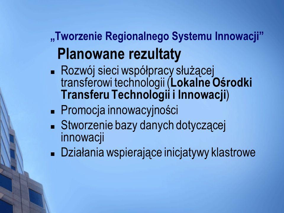 """""""Tworzenie Regionalnego Systemu Innowacji Planowane rezultaty"""