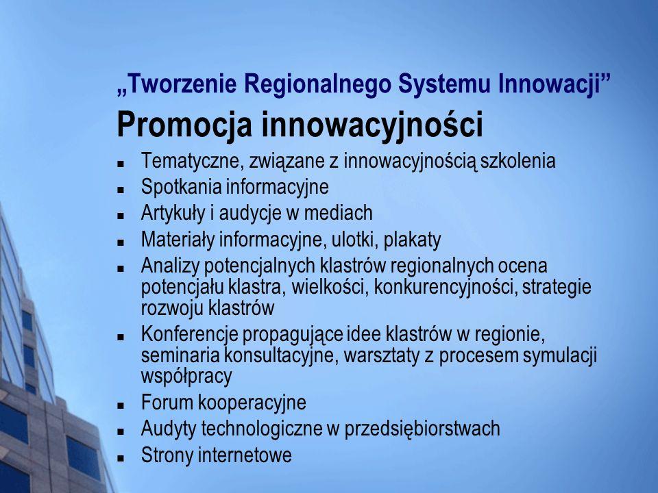 """""""Tworzenie Regionalnego Systemu Innowacji Promocja innowacyjności"""