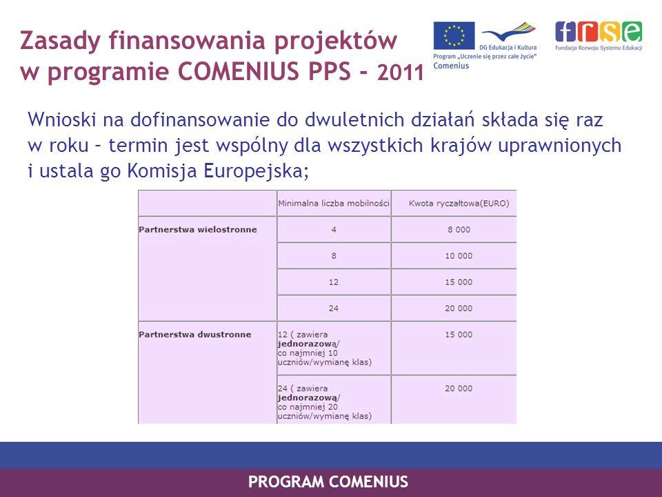 Zasady finansowania projektów w programie COMENIUS PPS - 2011