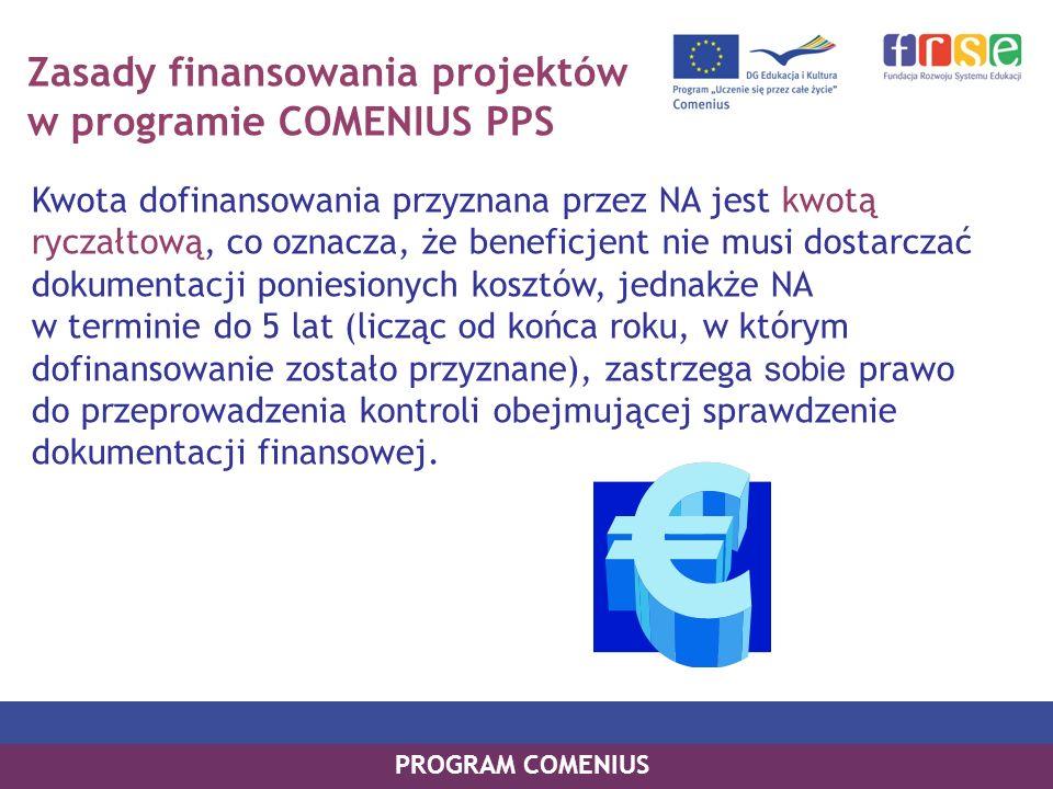 Zasady finansowania projektów w programie COMENIUS PPS