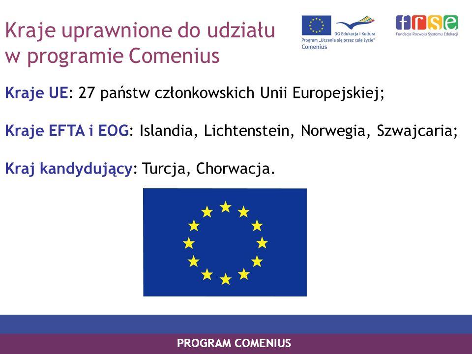 Kraje uprawnione do udziału w programie Comenius