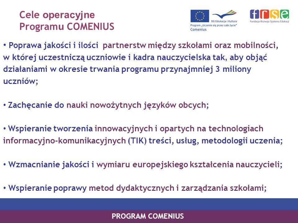 Cele operacyjne Programu COMENIUS