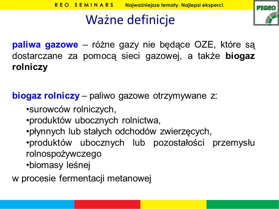 Ważne definicje paliwa gazowe – różne gazy nie będące OZE, które są dostarczane za pomocą sieci gazowej, a także biogaz rolniczy.