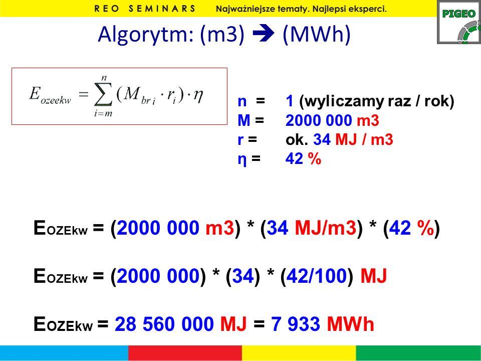 Algorytm: (m3)  (MWh) EOZEkw = (2000 000 m3) * (34 MJ/m3) * (42 %)