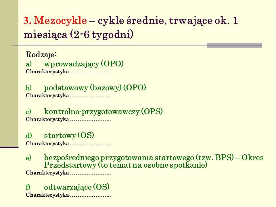 3. Mezocykle – cykle średnie, trwające ok. 1 miesiąca (2-6 tygodni)