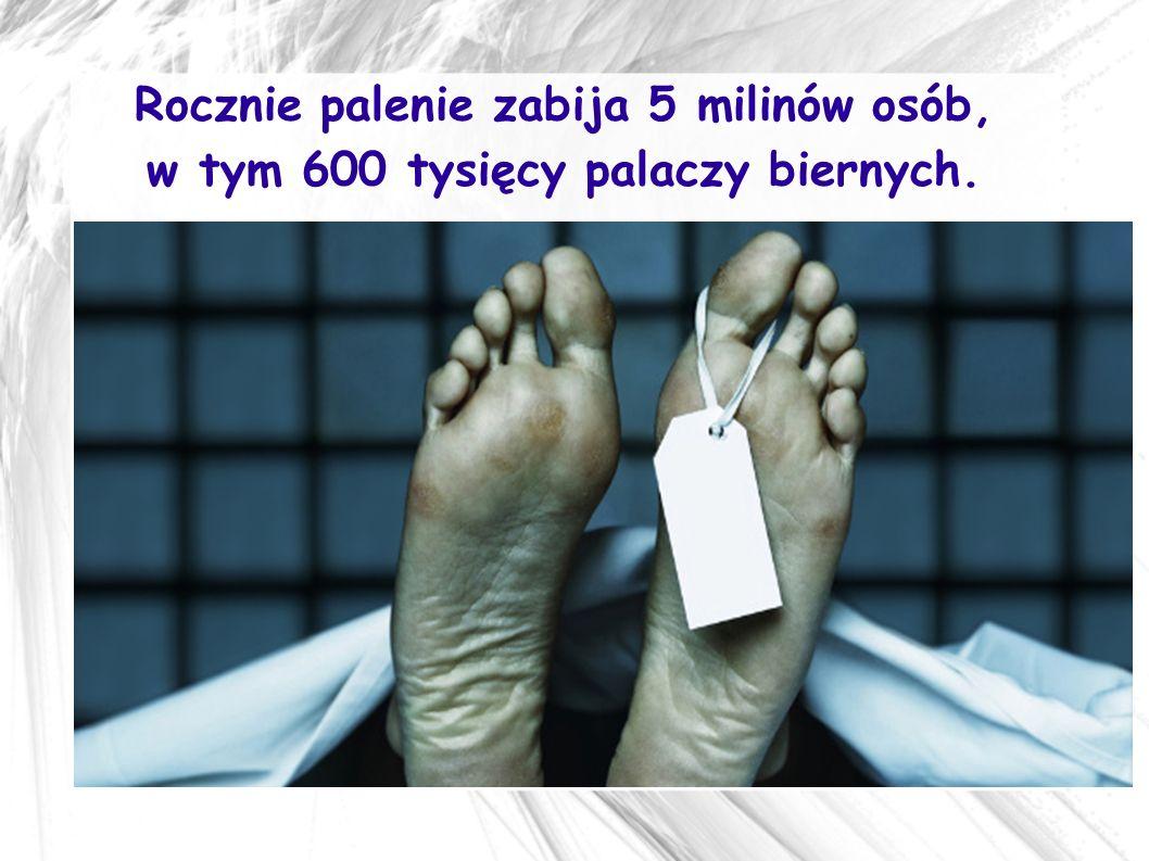 Rocznie palenie zabija 5 milinów osób, w tym 600 tysięcy palaczy biernych.